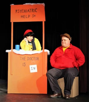 """Lucy and Charlie Brown are portrayed by Ryan Randolph and Lori Willey in """"A Charlie Brown Christmas"""" at the Fremont Community Theatre."""