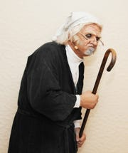 "Pastor Tim McDaniel stars as Scrooge in ""The Gospel According to Scrooge."""