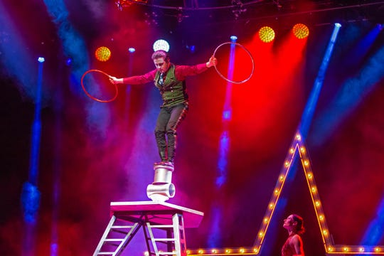 """A Magical Cirque Christmas"" is a cirque-style holiday show with circus acrobats, jugglers, magicians and singers performing to holiday songs."