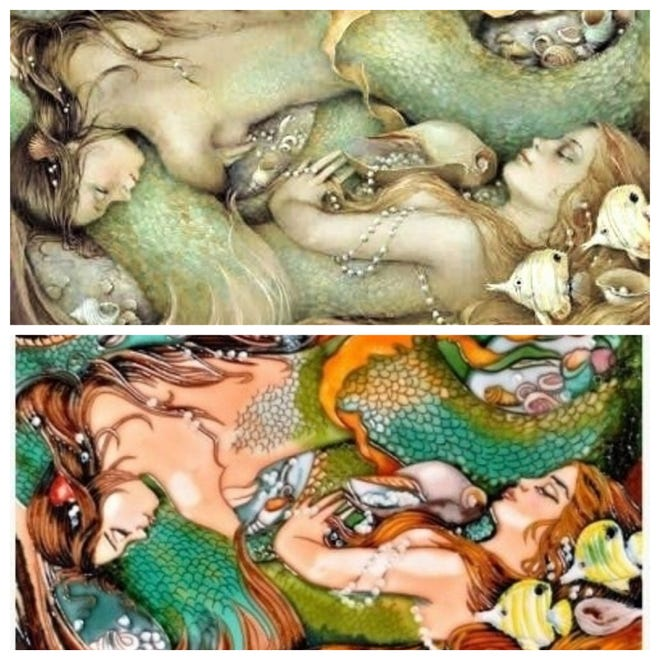 "Florida artist Christina P. Wyatt recently found unauthorized copies of her work ""Ocean of Dreams"" transferred onto tile. She is pursuing a cease and desist action against the company making the tiles. Her work is the top picture and the copied tile is below."