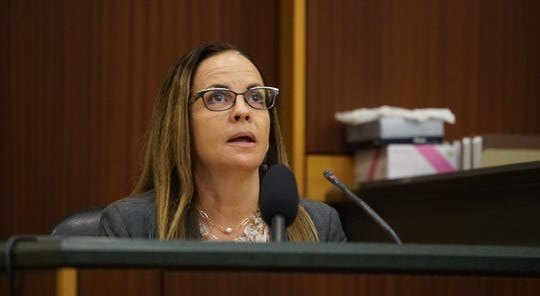 Dr. Bethany Mitchell, a friend of Teresa Sievers, testifies  Monday, Dec. 2, 2019, at the Lee County Justice Center in Fort Myers. Mark Sievers is charged with first-degree murder and conspiracy to commit murder for the death of his wife Teresa Sievers.