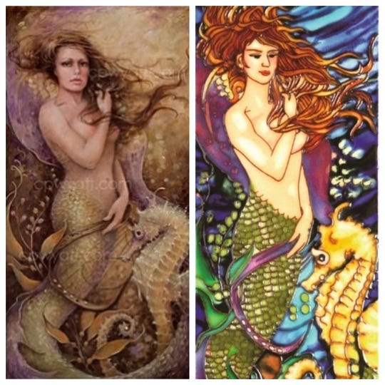 """Florida artist Christina P.Wyatt recently found unauthorized copies of her work """"Sarah's Song"""" transferred onto tile.  She is pursuing a cease and desist action against the company making the tiles. Her work is the top picture and the copied tile is below."""