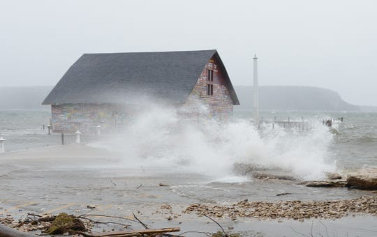 The Hardy Gallery on Anderson Dock in Ephraim went underwater from high waves stirred up by winter storms on Nov. 27.