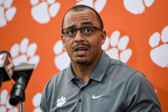 Clemson co-offensive coordinator Tony Elliott talks about playing Virginia in the ACC championship game, during media interviews at the Poe Indoor Facility in Clemson Monday, December 2, 2019.