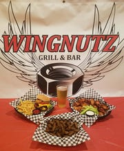 A sampling of menu items Wingnutz plans to offer when the sports bar opens in Fountain Inn includes burgers, beer, wings and boiled peanuts.