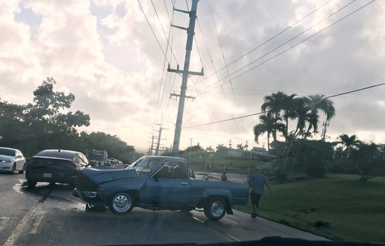An early morning accident in front of Government House in Hagåtña involving two cars slowed traffic Tuesday, Dec. 3, 2019.