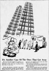 A cartoon featured in the July 16, 1978, issue of the Indianapolis Star depicts a police raid of a high-stakes poker game at the Riley Towers apartments. The games were believed to have been moved to the apartments from the Antelope Club after publicity drew law enforcement scrutiny.