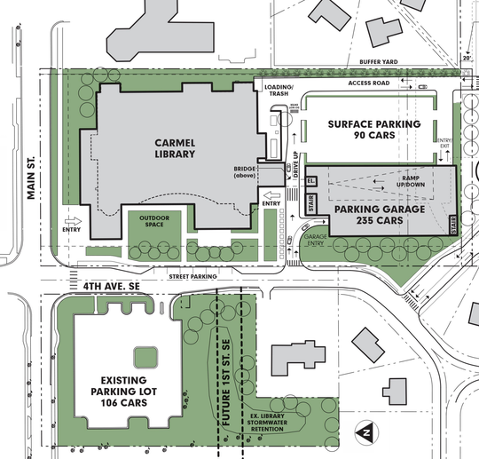 This map of what the expanded library could look like shows a parking garage and bridge. The dotted lines show the current size of the library.