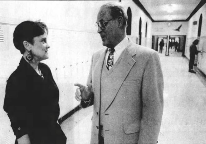 From 1993: Howard Vernon talks with Spanish teacher Dedi Walker in the hall at City High.