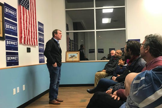 "Colorado Senator Michael Bennet is pushing back on the ""moderate"" label. He spoke with a crowd on Sunday, December 1 at Carpenters Local 1260 in Iowa City."