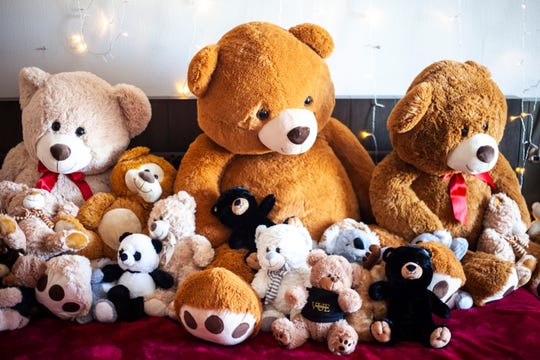 A room filled with stuffed animals and teddy bears is pictured, Monday, Dec. 2, 2019, at the Hilton Garden Inn in Iowa City, Iowa.