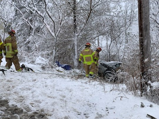 A car collided with a plow truck on