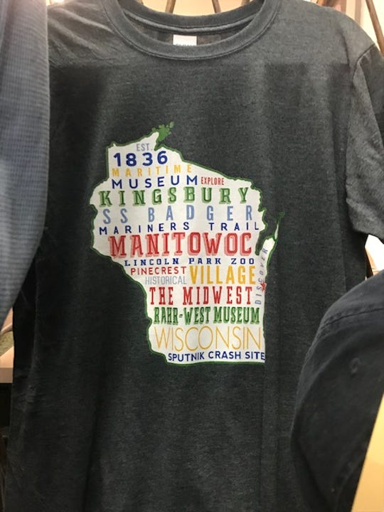 A Manitowoc-themed t-shirt sold at Ivy Trails in Manitowoc.