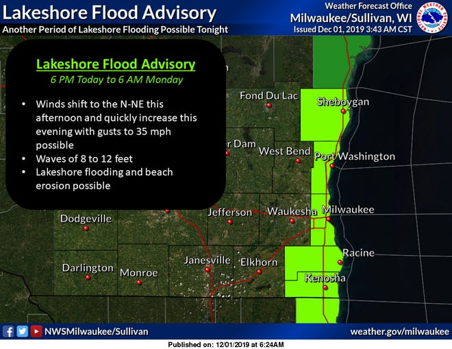 Strong winds out of the north are creating big waves and a warning about possible lakeshore flooding and beach erosion.