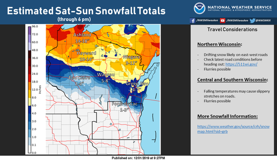 Snowfall totals in Wisconsin for the storm that struck Saturday and Sunday.