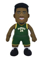 The Milwaukee Bucks pro shop at Fiserv Forum has Giannis Antetokounmpo plush dolls for sale.