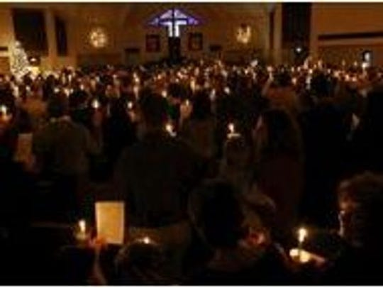 Two traditional Christmas Eve candlelight, communion and carols services will take place at Aldersgate United Methodist Church on Dec. 24 in the sanctuary.