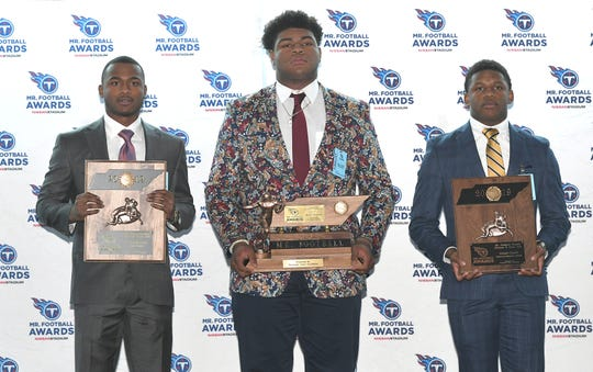 The Tennessee Titans Mr. Football Awards were presented to the top Tennessee high school football players on Monday, Dec. 2, 2019 at Nissan Stadium in Nashville.  DIVISION II, CLASS AAA players are Elijah Howard of Baylor, Omari Thomas of Briarcrest and Jabari Small of Briarcrest.