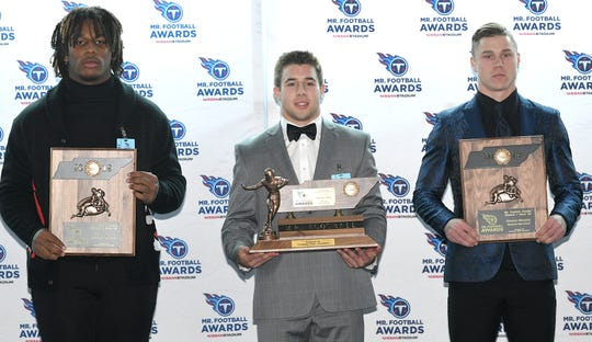 The Tennessee Titans Mr. Football Awards were presented to the top Tennessee high school football players on Monday, Dec. 2, 2019 at Nissan Stadium in Nashville. DIVISION I, CLASS 6A players are Bryson Eason of Whitehaven, Lincoln Pare of Houston and Conner Murphy of Blackman.