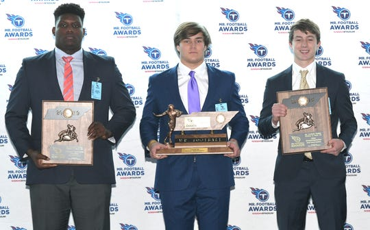 The Tennessee Titans Mr. Football Awards were presented to the top Tennessee high school football players on Monday, Dec. 2, 2019 at Nissan Stadium in Nashville. DIVISION II, CLASS AA players are Dietrick Pennington of ECS, Austin Hill of ECS, and Nick Semptimphelter of BGA.