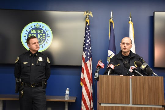 Metro Nashville Police officers Capt. Charles Widener, left, and Lt. Blaine Whited give an update on the search for four escaped juveniles accused of violent crimes at a news conference at MNPD headquarters on Monday in Nashville.