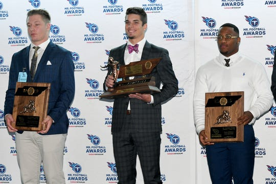 The Tennessee Titans Mr. Football Awards were presented to the top Tennessee high school football players on Monday, Dec. 2, 2019 at Nissan Stadium in Nashville. DIVISION I, CLASS 2A  players are Aaron Swafford of Meigs County, Cooper Baugus of Peabody and Terry Wilkins of Fairley.