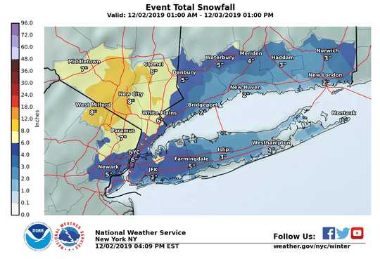 Expected snowfall total for Dec. 3