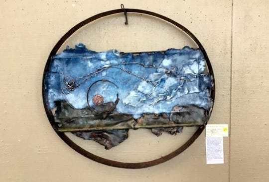 """Local artist Diane LeMarbe took home Best of Show honors during the November Recycled Art Show at the Deming Art Center, 100 S. Gold Street. Her winning art was titled, """"Wind Called Mariah. The show was sponsored by Keep Luna County Beautiful."""