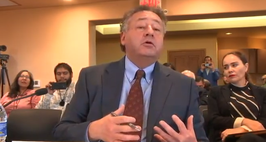 Border Industrial Association President Jerry Pacheco speaks to U.S. Representatives Xochitl Torres Small, D-NM, and Dan Crenshaw, R-TX, during a field hearing in Santa Teresa, New Mexico on conditions at New Mexico's ports of entry on Monday, December 2, 2019. Image is taken from a livestream of the hearing.