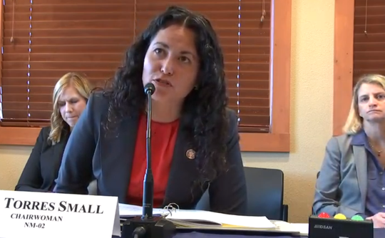 U.S. Rep. Xochitl Torres Small, D-NM, chairs a field hearing at the New Mexico Border Authority in Santa Teresa, New Mexico, on Monday, December 2, 2019. Image is taken from livestream of the meeting.