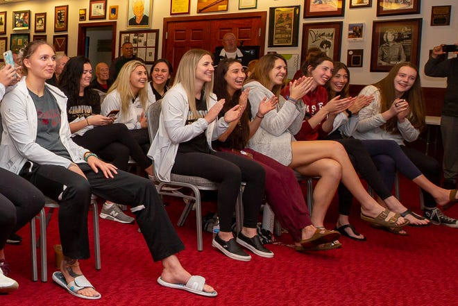 The New Mexico State volleyball team reacts on discovering who they will play in the 2019 NCAA D1 Volleyball Tournament. NMSU got paired with BYU, a 14th seed in this years tournament to be played in Utah.