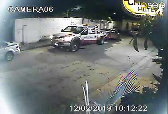Security camera footage shows a silver Toyota being impounded by local police in Cabo San Lucas, Mexico, early Monday morning, Dec. 2, 2019. Despite the time stamp, Cabo Inn Hotel owner Victor Patenaude said the vehicle was towed at approximately 3:30 a.m.