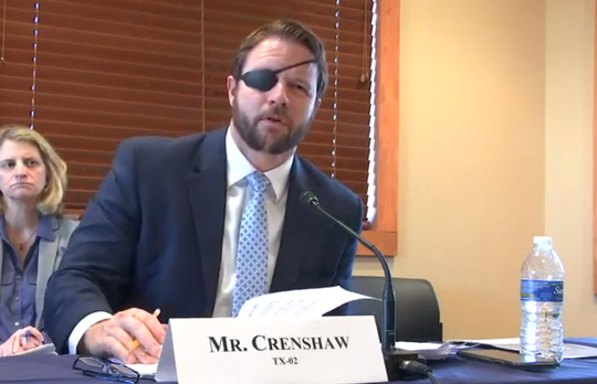 U.S. Rep. Dan Crenshaw, R-TX, asks questions during a field hearing in Santa Teresa, New Mexico on U.S. ports of entry and staffing needs at the U.S. Customs and Border Protection agency. Monday, December 2, 2019. Image taken from a livestream of the public hearing.