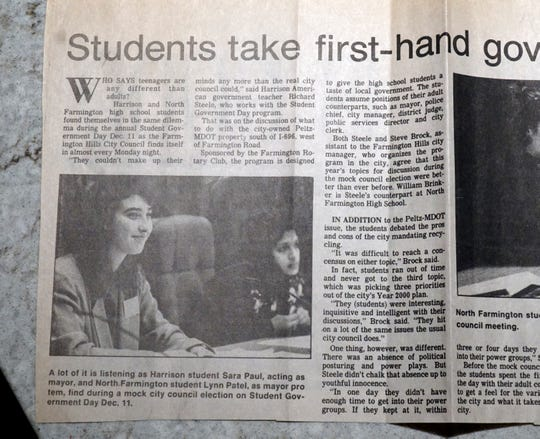 Farmington Mayor Sara Bowman's mother saved this newspaper article when her daughter (then Sara Paul) got to sit in council chambers and play the city's mayor for a day for a high school class project.