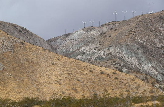 Older windmills may be replaced by larger, newer ones on these hillsides near the Whitewater Canyon Preserve, seen on Nov. 27, 2019.
