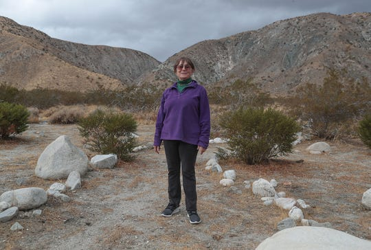 Eva Mansell lives near the Whitewater Preserve and worries that large turbines proposed for the top of the nearby hillsides could spoil the beauty and calm in the Whitewater Canyon as seen on Nov. 27, 2019.