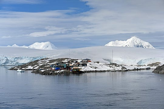 Arthur Harbor near Palmer Station, a U.S. research station in Antarctica, is pictured without any of the ice that made it so difficult to navigate just a few weeks earlier.