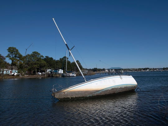 A sailboat and washed up and now rests on the shoreline in Bayou Chico on Monday, Dec. 2, 2019.