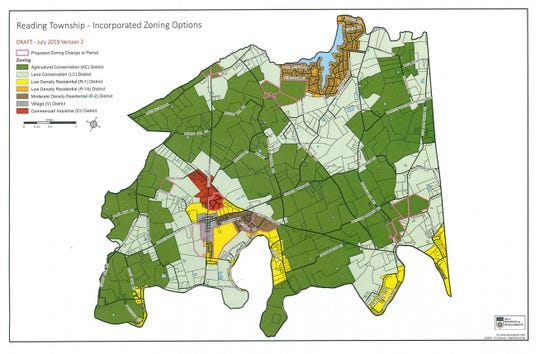 July 2019 version 2 map of the suggested rezoning areas for Reading Township. This is the map that has been approved by the township and the county planning commissions.