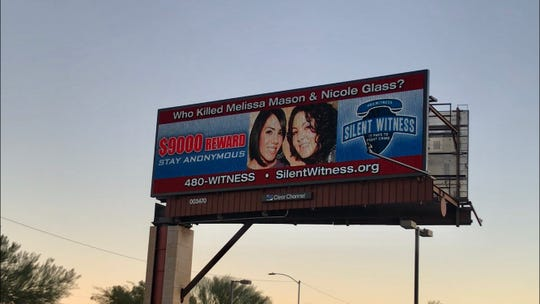 A billboard on Lincoln and 7th Street in Phoenix, pictured Dec. 1, 2019, asking for answers in the unsolved murder of Nicole Glass and Melissa Mason.