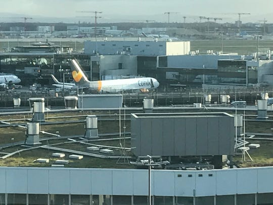 A Condor Airlines plane at the gate at Frankfurt am Main Airport in Frankfurt, Germany.