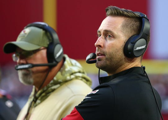 Cardinals coach Kliff Kingsbury looks on during a game against the Rams on Dec. 1 at State Farm Stadium.