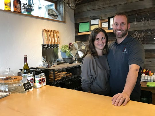 3 North Vines co-owners Kristi Nichols-Shopbell and Nate Shopbell pose for a photo at their business in Croswell on Nov. 27, 2019.