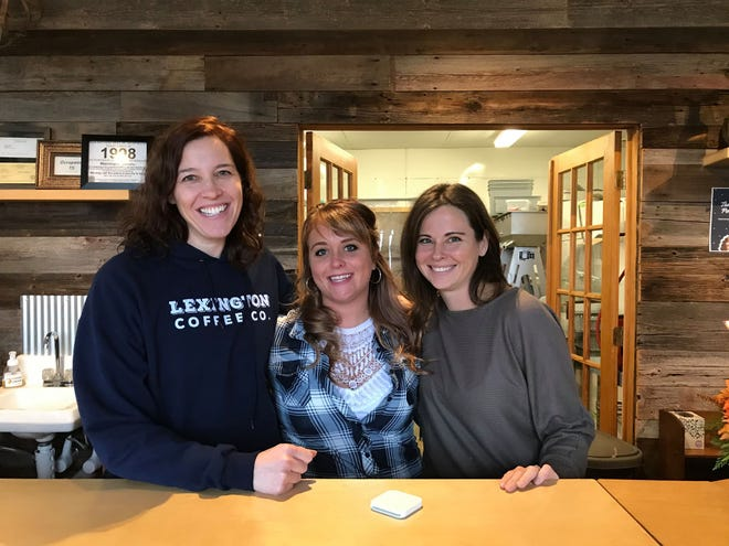 Lexington Coffee Co. co-owner Shelly Blakeley, Homemade Pies by Kala co-owner Kala Sheridan and 3 North Vines co-owner Kristi Nichols-Shopbell pose for a photo in Croswell on Nov. 27, 2019.