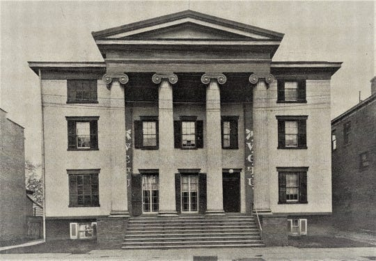 The Poughkeepsie Female Academy, which opened in 1836, operated in this Grecian Doric-style building at 12 Cannon St. in Poughkeepsie. Following the academy's closure and the building's use by other educational facilities, it was purchased in 1887 by the Women's Christian Temperance Union.