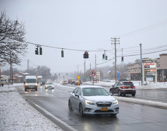 Traffic travels south on Route 9 in the Village of Wappingers Falls on December 2, 2019.