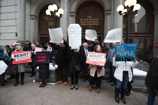"""The Organizing Committee Against the County Harassment Bill protested and held speaches against the """"annoyance"""" or harassment of police and emergency responders  bill in front of the Monroe County Office Building."""