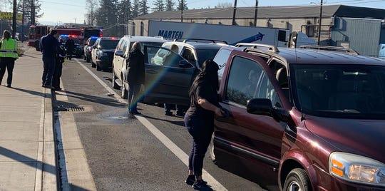 A crash slowed traffic on Portland Road Monday afternoon.