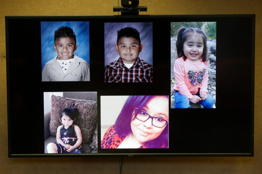 Pictures of Andrus Medrano-Contreras, 6, Ivan Ricardo Medrano-Contreras, 8, Angelina Vazquez-Crisp, 2, Dayanara Medrano-Perez, 4, and Lisette Medrano-Perez, 25, are presented during Favian Garcia's sentencing at the Marion County Courthouse in Salem on Dec. 2, 2019. Garcia received 34 years in prison after a conviction of driving drunk and causing a crash that killed four children and one mother.
