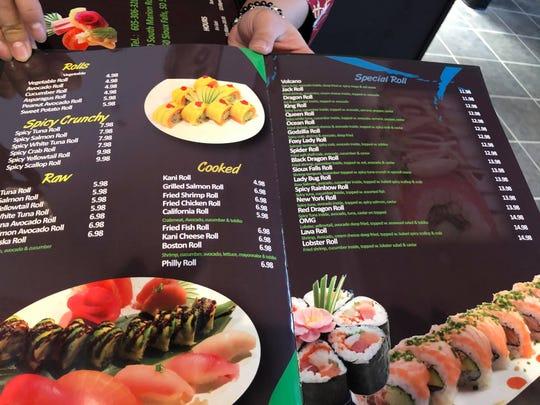The menu at Sakura Sushi at Lake Lorraine.